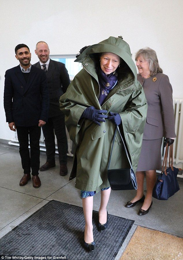 It was perhaps no surprise that the royal was so eager to slip on the voluminous jacket - she battled her way as the Beast from the East continued to play havoc with UK weather.