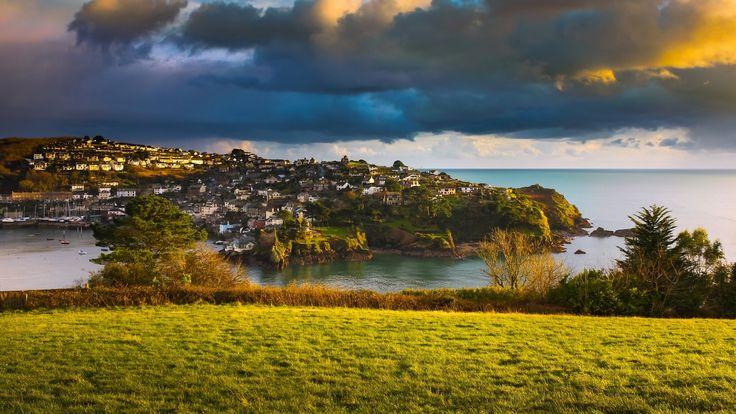 Скачать обои Ла-Манш, Англия, побережье, Корнуолл, море, деревня, Полруан, Cornwall, English Channel, Polruan, облака, England, раздел пейзажи в разрешении 1920x1080