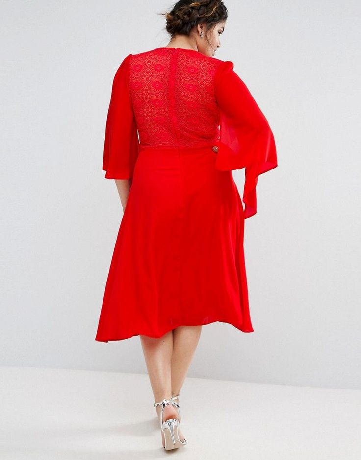 John Zack Plus Lace Midi Dress With Cape Detail - Red