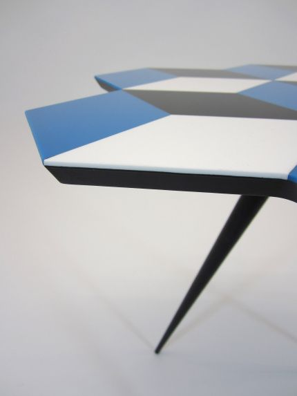 Geometric Living Range Side Table with Cast Acrylic Geometric parquetry top, in Blue/White/Black pieces, bonded on a black dyed wood fiberboard top, with Oak tapered legs, finished in black shellac and lacquer.  Each table is handmade in London and has the ROCKMAN & ROCKMAN enamel badge underneath.