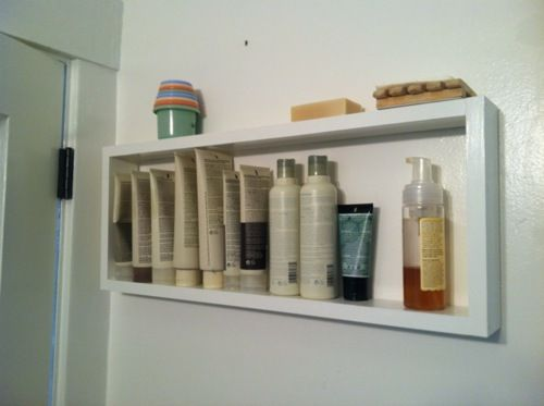 Behind the door bathroom shelf!  would be great for apartment or small bathrooms with multiple teens!