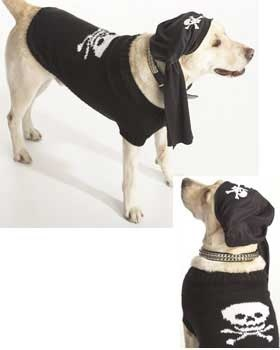 Aaar matey! Your dog will be the coolest puppy at the park with this wicked black skull and crossbones coat. Sizes XS - L (chest measurement 10 - 24 in). Shown in Bernat Satin knit on sizes 4.5 mm (U.S. 7) and 5 mm (U.S. 8) needles.