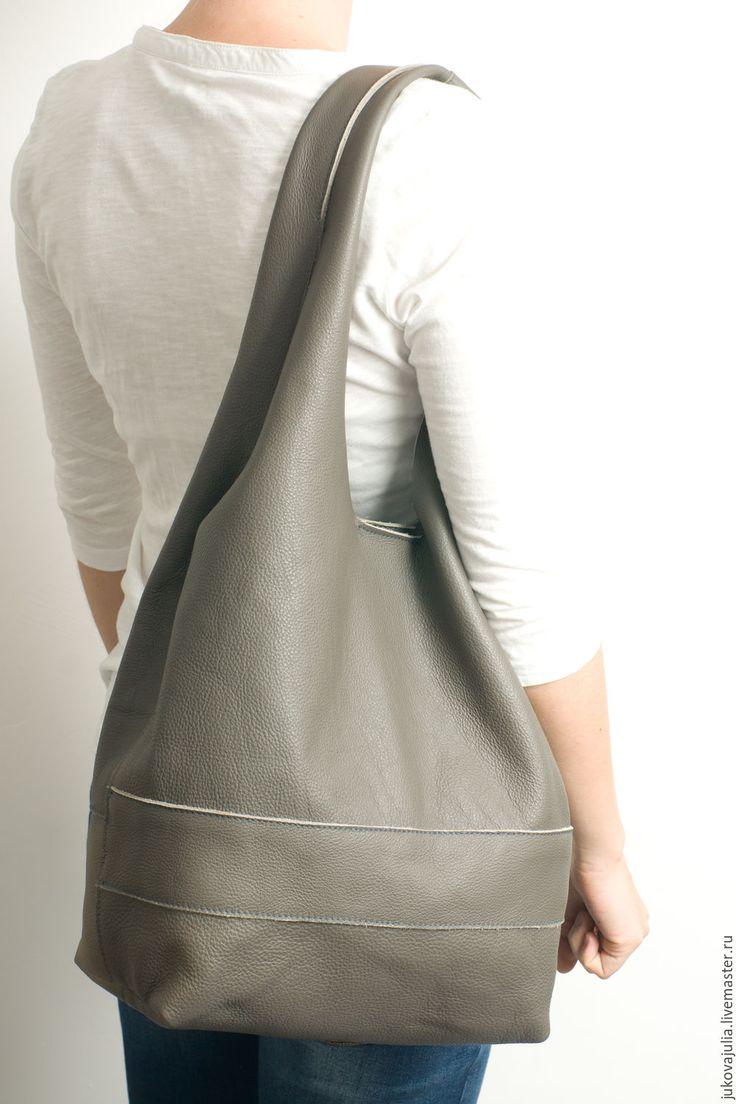 Купить Сумка из натуральной кожи мешок шоппер пакет серая - серый, сумка ручной работы