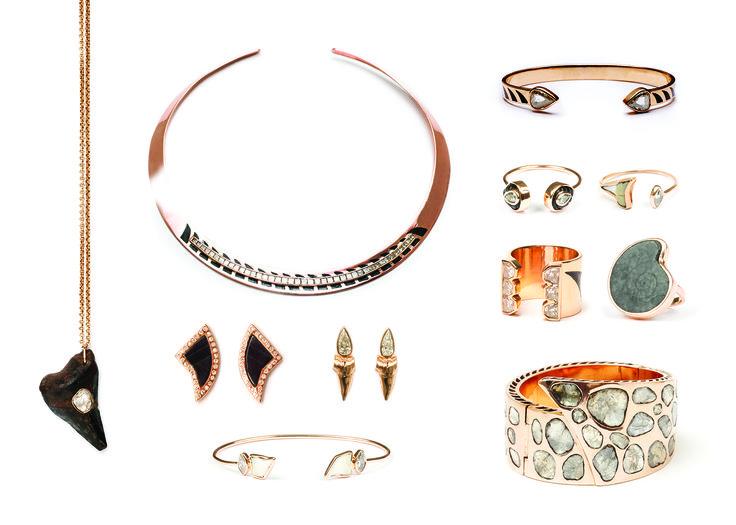 Dezso #sharkfin #diamonds #polkidiamonds #enameling #ammonites #handcarved #bluetigereye #dezsodeco