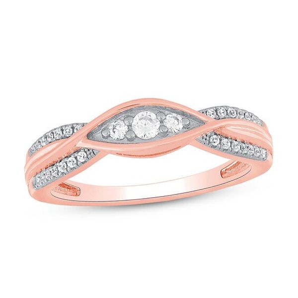 Diamond Anniversary Ring 1 5 Ct Tw 10k Rose Gold In 2020 Diamond Anniversary Rings Diamond Anniversary Anniversary Rings