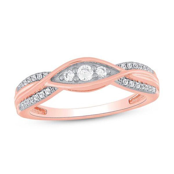 Diamond Anniversary Ring 1 5 Ct Tw 10k Rose Gold In 2020 Diamond Anniversary Rings Diamond Anniversary Anniversary Rings