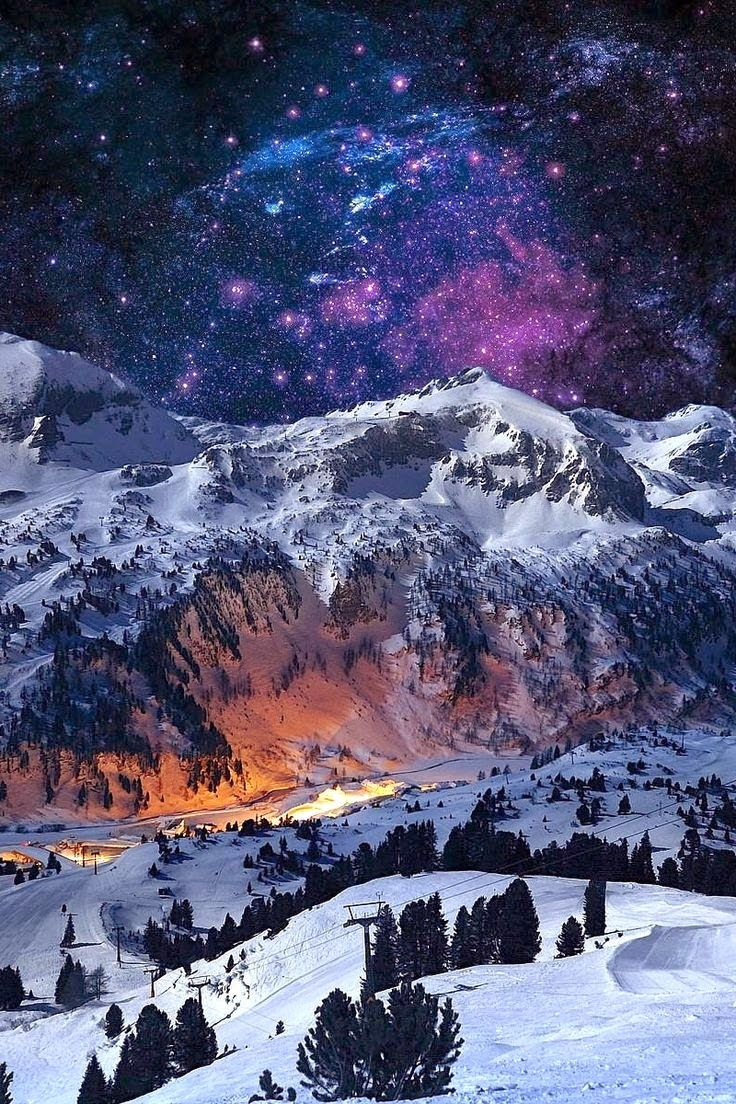 North Pole City at night. View of Sarandiel Mountain named after Santa Claus's Archangel Father.