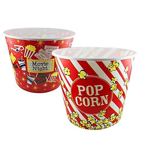 """A Movie Night Must Have! Enjoy your next movie night at home with MovieTime cinema style popcorn tubs. Constructed of durable yet lightweight plastic material, you'll enjoy using these fun popcorn tubs over and over again. This jumbo popcorn tub is sure to get """"two thumbs up""""!... - http://kitchen-dining.bestselleroutlet.net/product-review-for-cinema-style-popcorn-bowl-jumbo-9-25-x-8-plastic-reusable-snack-tub-container-movie-theater-bucket-retro/"""