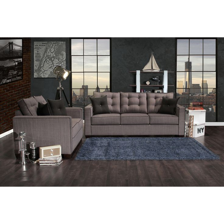 Furniture Of America Lennons Urban 2 Piece Upholstered Sofa Set (Blue)  (Polyester)