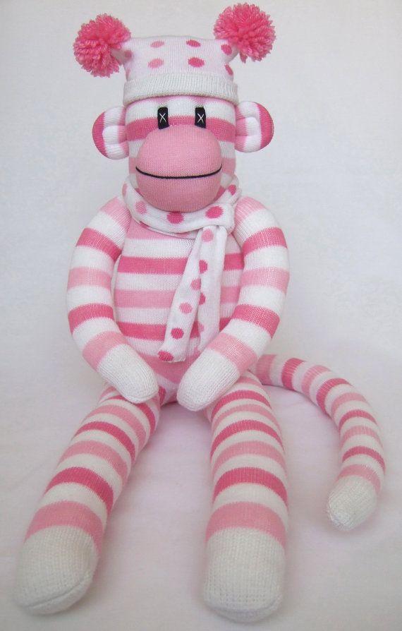 Cute Pink Candy Stripe Sock Monkey by Sunsetgirl on Etsy, $55.00