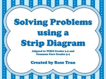 Do your students need extra practice using a strip diagram to solve problems? Look no further! Here is a set of 64 colorful task cards that will help your students.This activity includes a directions poster, recording sheet, and answer key. This activity is aligned to:Texas Third Grade: 3.5B represent and solve one- and two-step multiplication and division problems within 100 using arrays, *strip diagrams, and equations (Readiness Standard)Texas Fourth Grade: 4.5A represent multi-step…