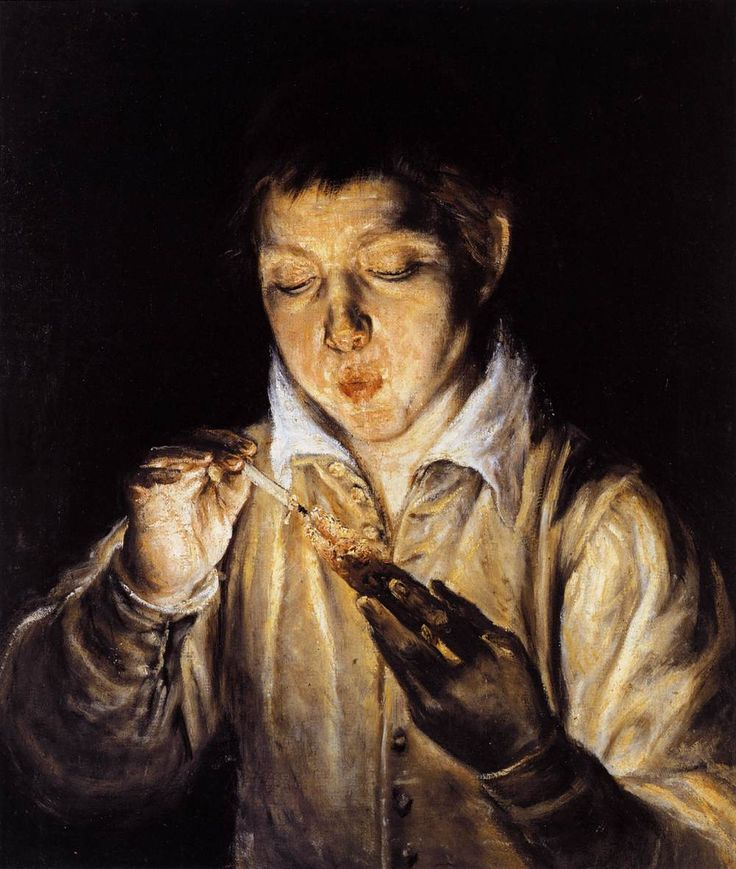 """El Greco: """"A boy blowing on an ember to light a candle"""",1570. (Private Collection)"""