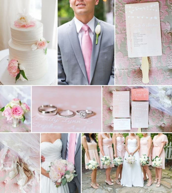 Blush Pink Bridesmaids Dresses And Wedding Details White Bouquets Grey Groomsmen Suits Ivory Weddings In 2018