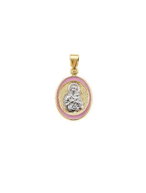 Φυλαχτό Χρυσό Κ9 Δίχρωμο με Σμάλτο Αναφορά 019358 Φυλακτό διπλής όψης από χρυσό Κ9 σε κίτρινο και λευκό χρώμα όπου είναι διακοσμημένο με ροζ σμάλτο.