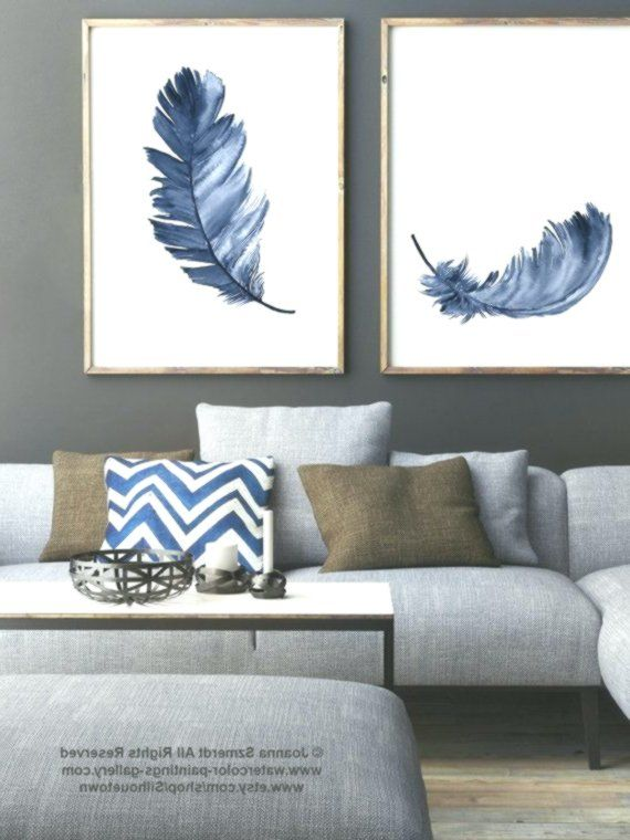 Best Royal Blue Feather Print Set 2 Canvas Feathers Watercolor 400 x 300