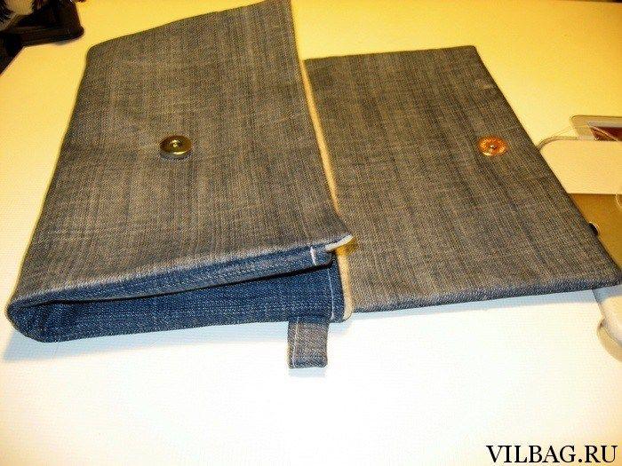 Удобный джинсовый клатч с боковыми складками шьем своими руками. Полное описание выкройки и процесса создания.