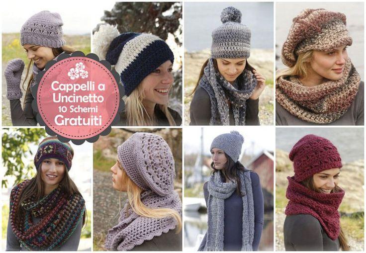 In questo post troverete ben 10 schemi gratuiti in italiano per realizzare bellissimi cappelli all'uncinetto per rendere il vostro look unico e originale.