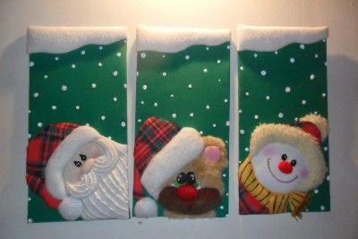 cuadros de navidad en icopor de tela