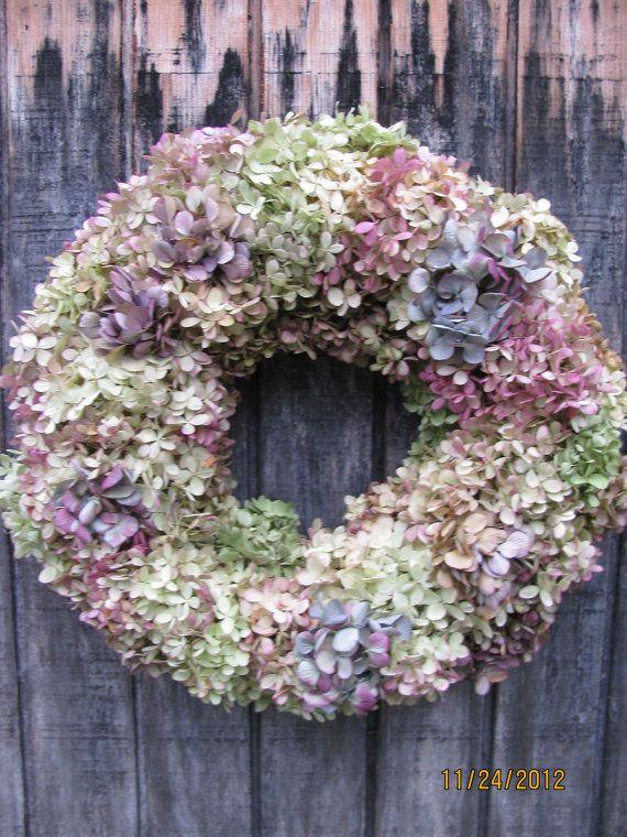Dried Hydrangea Wreath by RebeccaWattsDesigns on Etsy, $45.00