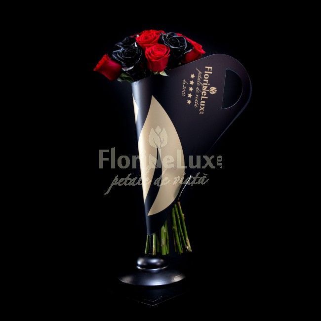 Trandafiri negri Wild si trandafiri rosii Passionate, un buchet care va lasa o amprenta puternica in sufletul ei, pentru totdeauna. Alege doar de aici acest buchet special, cu livrareoriunde in Romania. Buchetul este livrat in bouquet holderul nostru unicat, cu toarte si design fashion statement, creat din 10 trandafiri rosii si 9 trandafiri negri