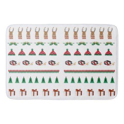 Christmas Tree Santa Reindeer Presents Red Green Bath Mat - cyo diy customize unique design gift idea