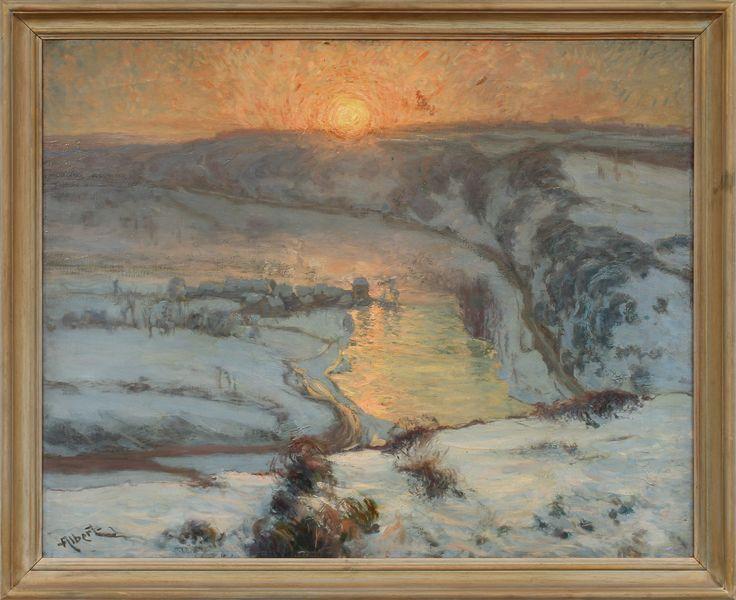 GUSTAVE ALBERT (1866-1905). Månsken över floden. Olja på duk, signerad.