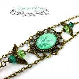 Headband rétro cabochon perles oiseau vert