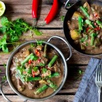 Slow Cooked Lamb Massaman Curry - tender lamb and potatoes with coconut milk and an easy homemade massaman sauce.