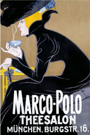 m nchen marco polo theesalon vintage german tea room poster by unknown artist from 1905 a. Black Bedroom Furniture Sets. Home Design Ideas