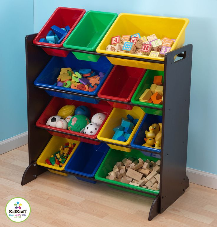KidKraft Espresso Bin Unit - 15451 - Bright and kid friendly the KidKraft Espresso Bin Unit will make clean-up time fun and easy for your little ones! & 16 best Toy Storage images on Pinterest | Shelving Toy storage and ...