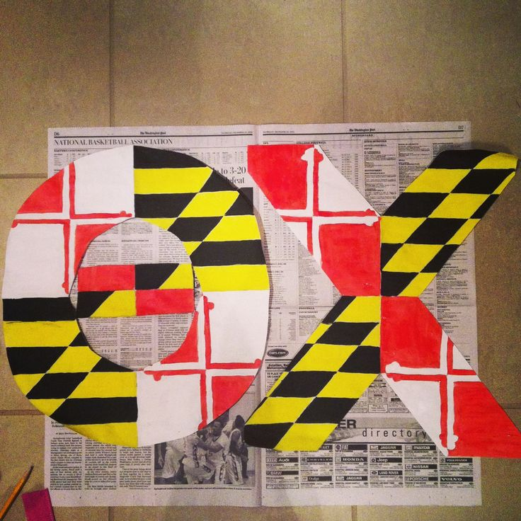 Theta Chi Maryland Flag letters  Painted myself - Crafts By Coffey
