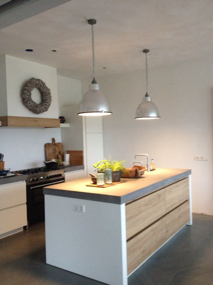 KITCHEN: PLUG POINT ON SIDE, WHITW & RAW WOOD CUPBOARDS & DRAWS, CONCRETE COUNTER