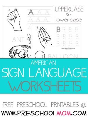 American sign language worksheets
