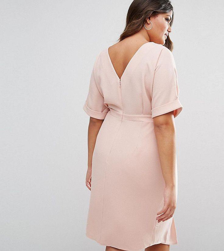 ASOS CURVE Smart Midi Dress - Pink