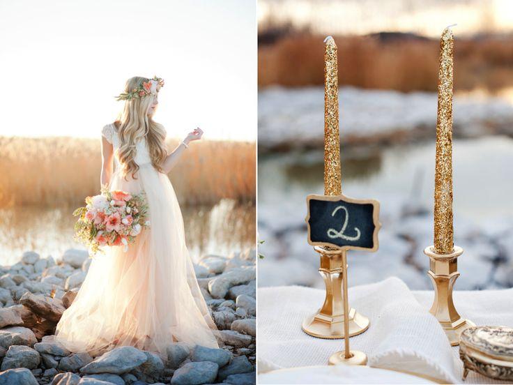 peach gold inspired wedding gold glitter candlesticks utah wedding flowers calie rose