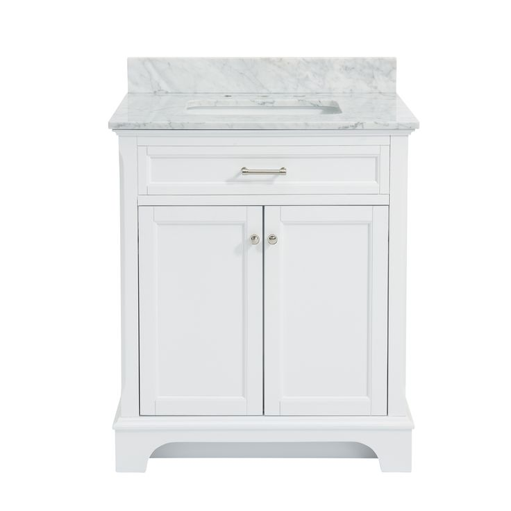 allen + roth Roveland White Undermount Single Sink Birch/Poplar Bathroom Vanity with Natural Marble Top (Common: 30-in x 22-in; Actual: 30-in x 21.5-in)
