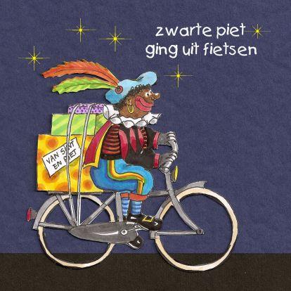 Zwarte piet ging uit fietsen.. Sinterklaaskaart. Design: Enny Schouten www.kaartje2go.nl Maak nu jouw eerste kaart gratis op onze website!