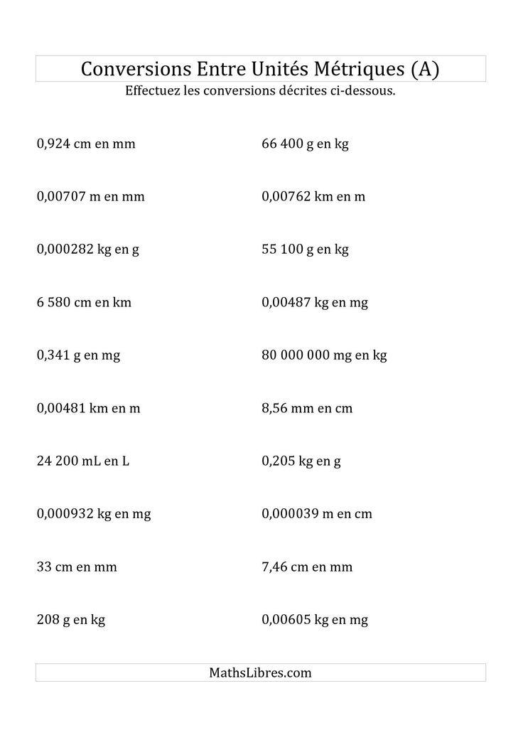 La fiche d'exercices de maths « Conversions métriques -- Toutes unités de longueur, de masse et de volume (A) » de la page des Fiches d'Exercices sur la Mesure.