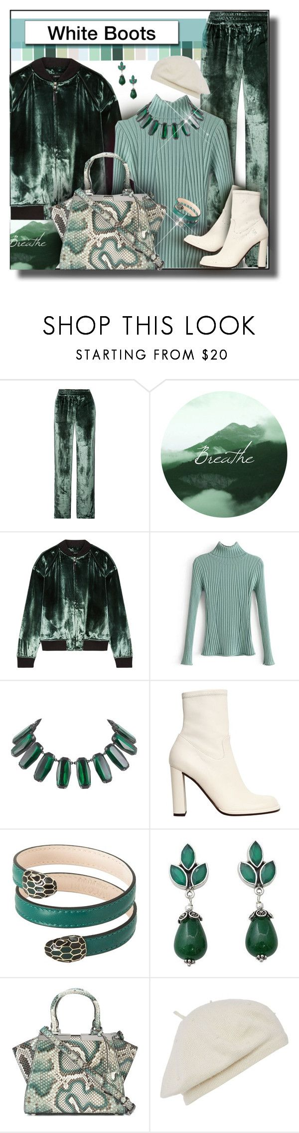 """White Boots"" by franceseattle ❤ liked on Polyvore featuring J Brand, Mulberry, Trilogy, Bulgari, NOVICA and Fendi"