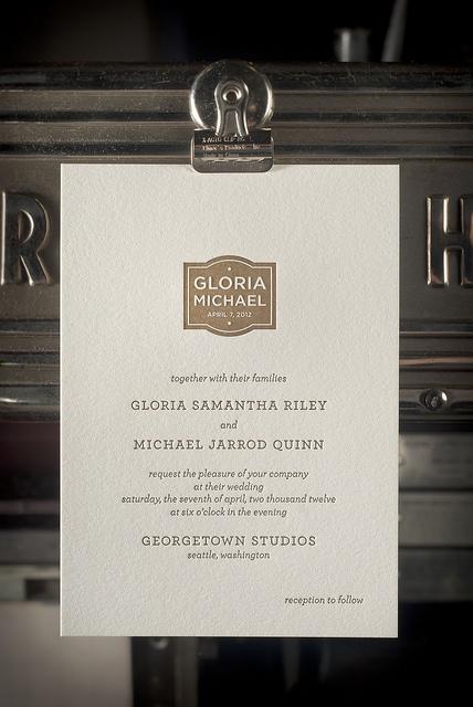 Emblem letterpress invitation by Brown Sugar Design for the Pressroom & Co.