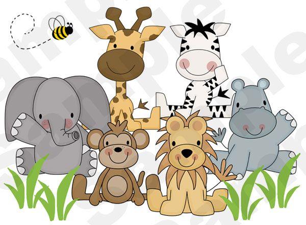 kids jungle themed murals | Jungle Zoo Animals Wall Art Mural Boy Girl Kids Room Decor