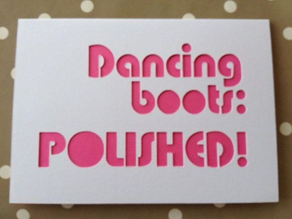 Wedding acceptance card. Dancing boots: polished! ://www.etsy.com/listing/188206200/dancing-boots-polished-acceptance-card