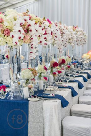 weddings by Stardust    flowers    blue    pink    centerpieces    tall centerpieces   
