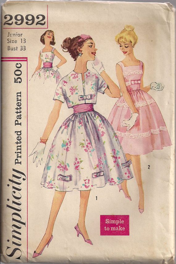 Vintage 50s UNCUT Simple Sewing Pattern PARTY DRESS Kimono Sleeve Jacket Bolero  Cummerbund  - size 13 - bust 33 (79 cm) - s 2992