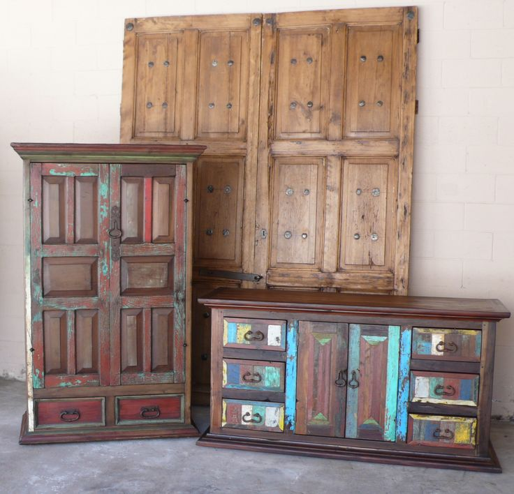 Mexican old doors made into armoires and tv media cabinets - 11 Best Mexican Furniture Repurposed From Antique Mexican Doors