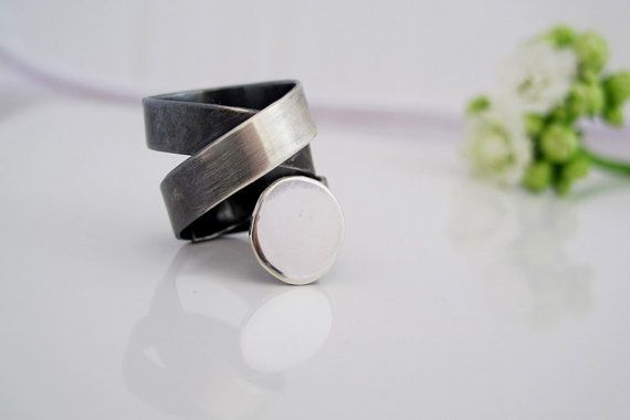 Tattoo ring 2  Wide band ring swirl made to order by ZizouArT