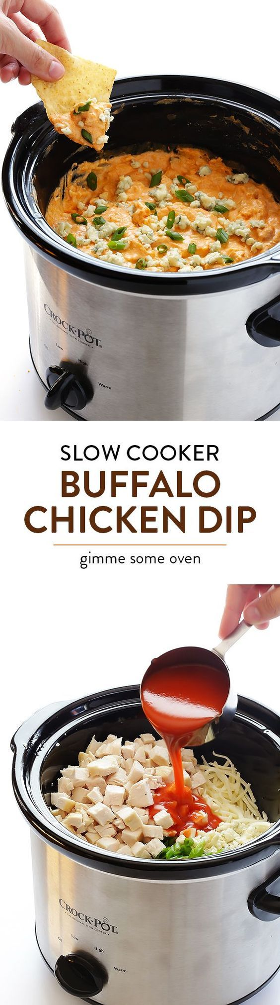 Slow Cooker Buffalo Chicken Dip -- the irresistible appetizer we all love, made extra easy (with 10 mins prep!) in the crock pot | gimmesomeoven.com