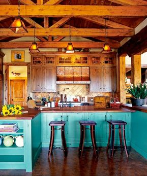 Love the turquoise color for the cabinets!