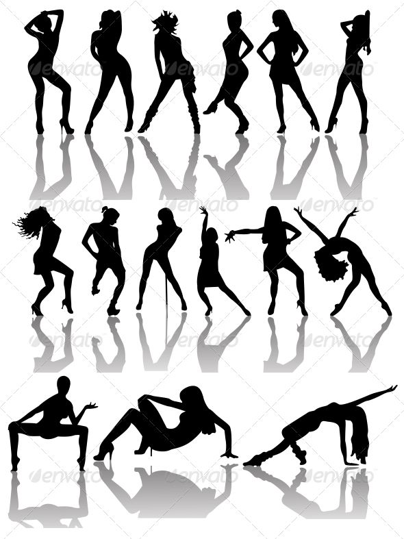 Set of Silhouettes of Dancing Couple and Girls  #GraphicRiver