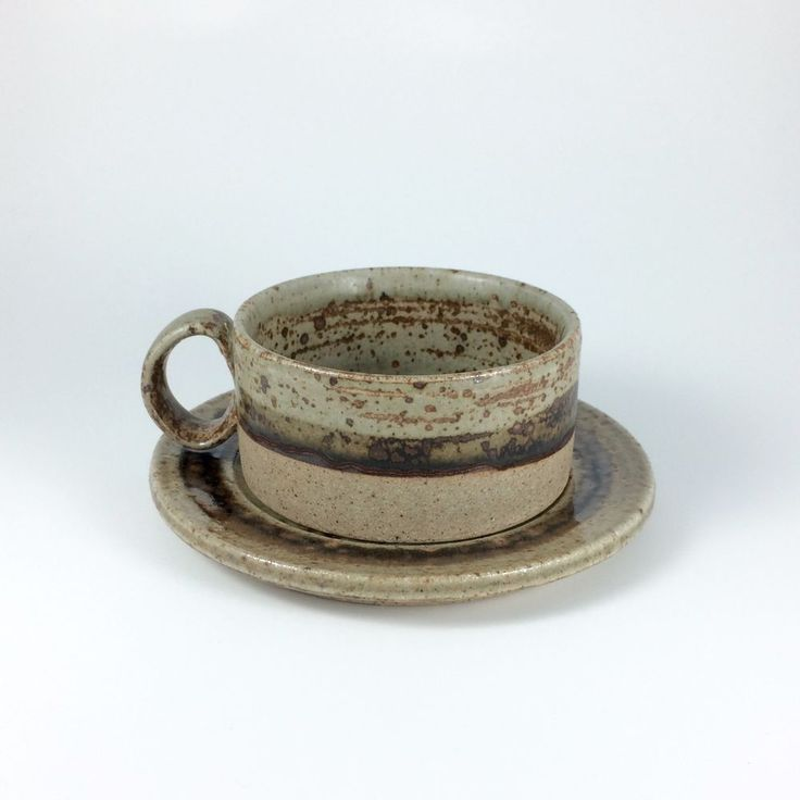 Vintage Tue Poulsen Denmark Pottery Cup and Saucer Danish Modern Style